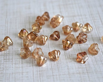 Czech Bell Flower Bead, 8x6mm, Celsian Crystal, Jewelry Supply, 25 Pieces (TF145)