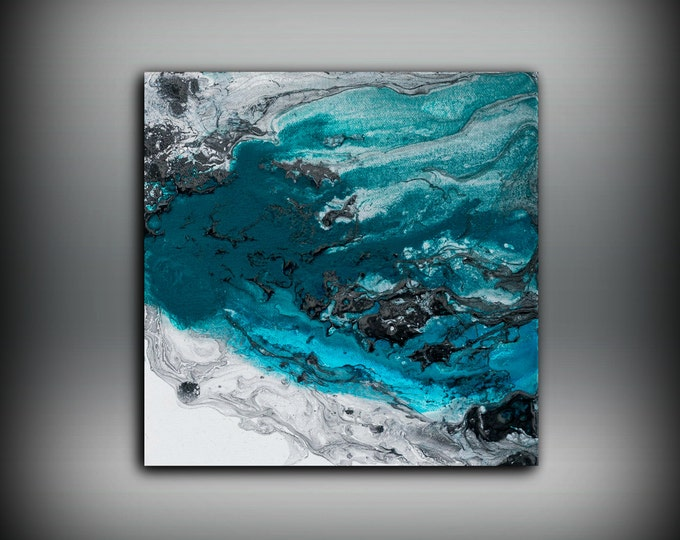 Blue Painting Square, Fine Art Prints Abstract Painting, Black Wall Decor  Prints Wall Art