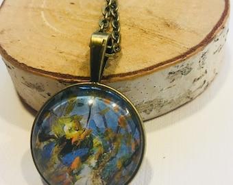 Blue and Orange Floral Impressionist pendant necklace, vintage look, blue, orange, green