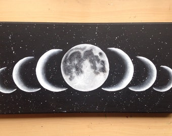"The Moon Phases Painting ""Sette Lune"" 8 x 16"