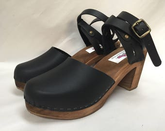Black Oiled mary jane Super High Heel with a Double Wrap around ankle strap