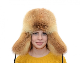 Hat with ear flaps. Cossack hat. Fox fur