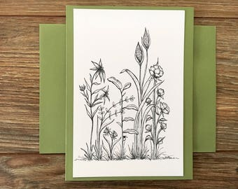 Coloring Greeting Art Card A6 with envelope Original art print Floral blank greeting card all occasion paper Stationary black & white