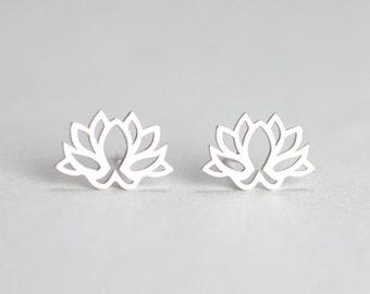 Lotus Stud Earrings, Lotus earrings, Yoga Jewelry, Flower studs, petite and dainty, everyday jewelry