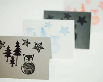 Starry Starry Fox Cards Fox Stationary Animal Stationary Forrest Stationary Woodland Stationary White Red Blue Gray Silver - Christmas Cards