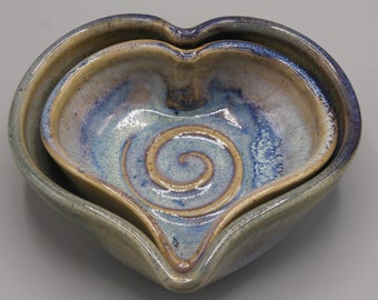 Set of Two Wheel Thrown Stoneware Heart Dishes in Glossy Blue