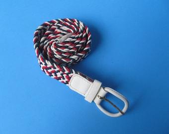 Men  Elastic Belt Multi Color - size M - 34 - 36 - red white and blue  Belt