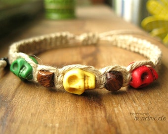 Rasta Hemp Bracelet, Natural Hemp Jewelry, Skulls with Brown Wood Beads