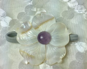 Amethyst Cream Mother of Pearl and Gemstone Plumeria Hair Tie