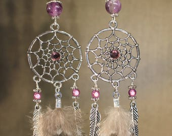 Earrings dream catcher, ethnic, Bohemian, fashion