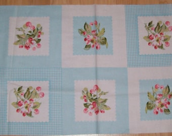 A Gorgeous Cherry Squares Cotton Fabric Panel Free US Shipping