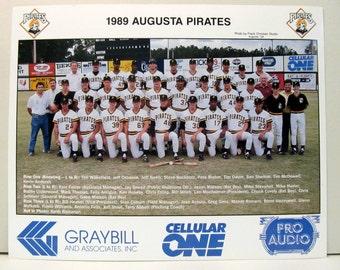 1989 AUGUSTA PIRATES Baseball Team Photo.  full color.  minor league.