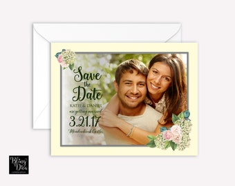 Hydrangea Save the Date Custom Print