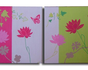Flower hibiscus Butterfly diptych painting pink lime green modern chiaradeco