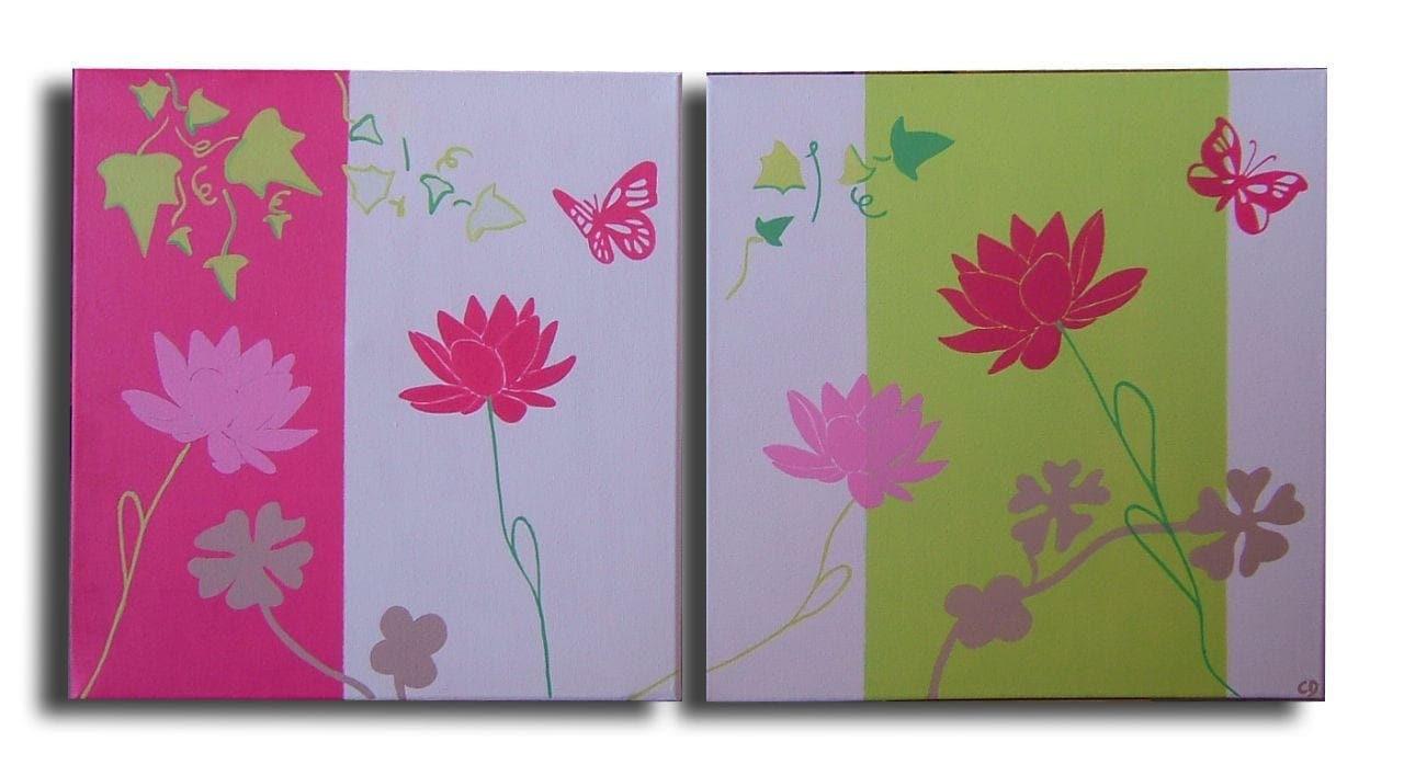 tableau diptyque fleur hibiscus papillon rose fushia vert anis. Black Bedroom Furniture Sets. Home Design Ideas