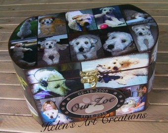 Pet Memorial Box,  Pet Collage Photo Urn, Custom Pet Urn, Pet Keepsake Box, Custom Pet Box, Dog Memorial, Pet Portrait, Wood Urn