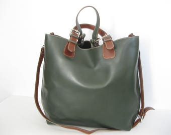 Genuine NARDELLI vintage large green brown leather shpping tote bag
