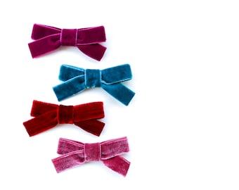 Velvet Hair Bow - Velvet Bow Clip - Velvet Bow Headband - Nylon Headband - Alligator Clip - Pink - Red - Teal - Mauve