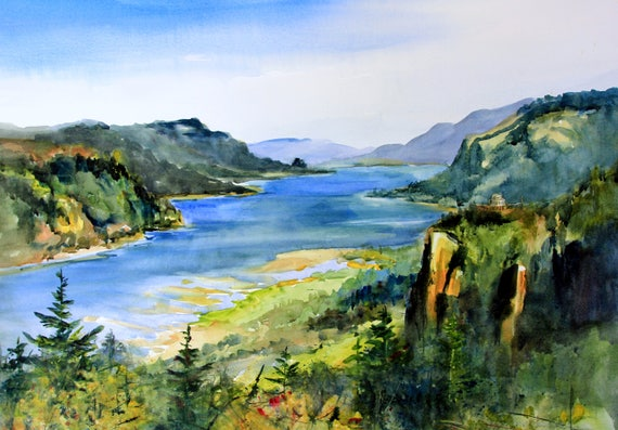Columbia Gorge 348 - signed watercolor print - Bonnie White - Columbia Gorge - National Scenic Area - watercolor paintings