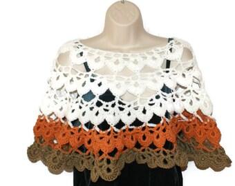 Crochet Capelet, Bridal Capelet, Fall Poncho, Bridal Shawl, Shoulder Shawl, Womens Shawl, Crochet Shawl, Womens Shawlette, White Ponch