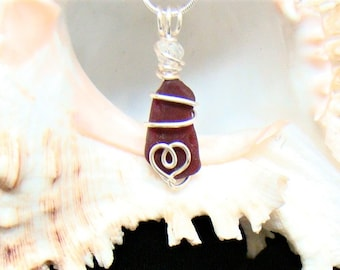 Red Sea Glass Necklace with Heart
