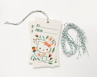 Hello Kitty Flower Gift Tag