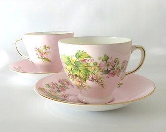 SALE! Vintage Teacup & Saucer. Old Royal Bone China. Wild Roses. Pink. White. Yellow. Green. Gold. Cottage Garden. Mid Century. Tea for Two