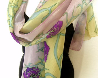 """Roses Silk Scarf Handpainted, Hand Painted Silk Scarf, Pastel Beige Dusty Pink Purple 71"""" Long Scarf,  Silk Chiffon Scarf, Gift For Her"""