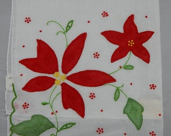 New Old Stock Hand Appliqué Embroidered Christmas Poinsettia Handkerchief w/ Original Label