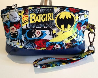 MOTHERS DAY Special, free* postage, Batgirl, Clematis, Clutch Zipper, Clutch, Wallet, Pouch Zipper, Wristlet, Removable Strap