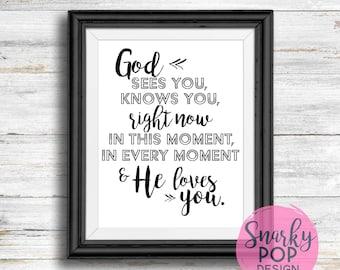 God Loves You, Printable Art, Wall Art Print, Instant Dowload, Printable Quotes, Home Decor, Motivational Art, Printable Wall Art, LDS