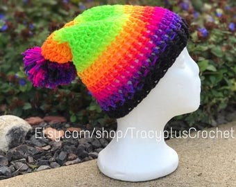Slouchy hat. Crochet Slouchy hat. Slouchy beanie. Neon slouchy.