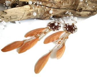 Brown dreamcatcher earrings