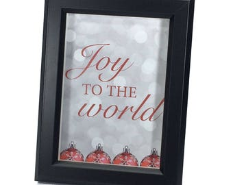 Black Framed Christmas Art (5x7 inches) - Joy to the World