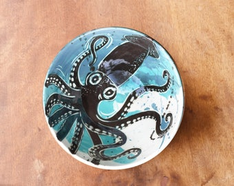 Black & White Giant Squid - Small Cereal Bowl with Green-Teal-Blue Splatters - by Artifact Pottery Ohio