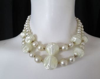"""1970's double ivory beaded strand necklace measures 15"""" long"""