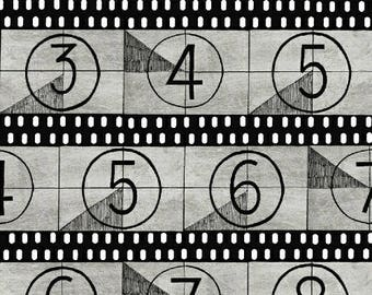 Light, Camera, Action from Windham Fabrics - Full or Half Yard Movie Film Strips in Gray and Black