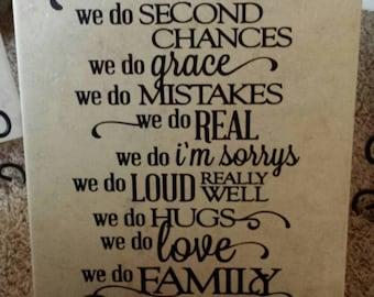 In this House we do second chances we do Grace we do Family Ceramic Tile, Inspirational Quote/Saying, Home Decor, Ceramic Tile with Easel