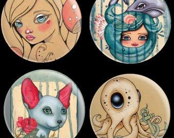 Needle Minder by Lea Barozzi , Octopus Magnet, Alice In Wonderland Cross Stitch Keeper, Fridge Magnet, Pattern Holder, Cat needle minder
