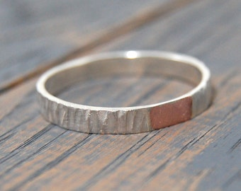 Rustic wedding copper ring for women, Tree Bark copper Ring, womens Wedding copper ring, Womens wedding ring, wedding rings for women