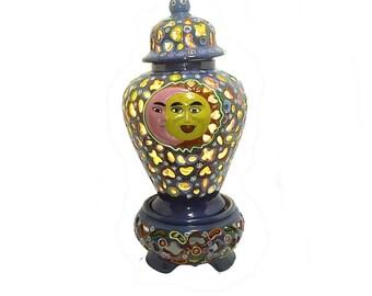 Talavera Mexico Reticulated Lamp Ginger Jar/Tibor Red Clay Folk Art