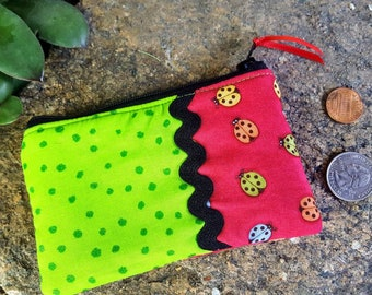 Ladybug Coin Purse, Girls Zipper Wallet, Ear Bud Pouch, Change Purse, credit card pouch, Girl's Coin Purse, Lunch Money Pouch