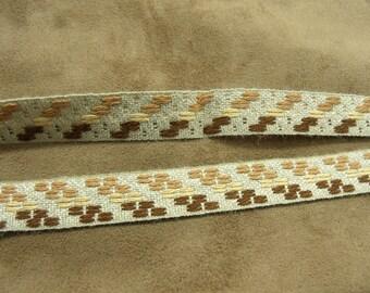 FANCY linen Ribbon - 1.5 cm - Brown & beige
