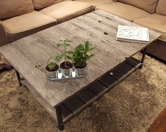 Barn Wood Rail Road Track Coffee Table with shelf