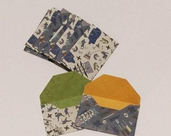 Handmade Mini Envelopes - Business Card Envelope, Set of 8, Gift Card Envelopes - Origami Paper- Japanese Theme