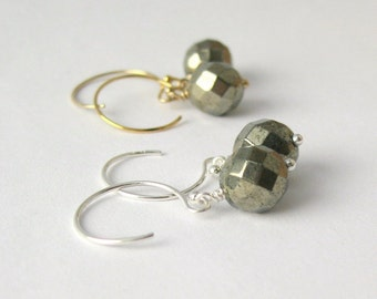 Faceted Pyrite Dangle Earrings