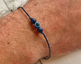 Evil eye bracelet, wax cord bracelet, adjustable bracelet, protection bracelet, religious bracelet, evil eye jewelry, evil eye gifts