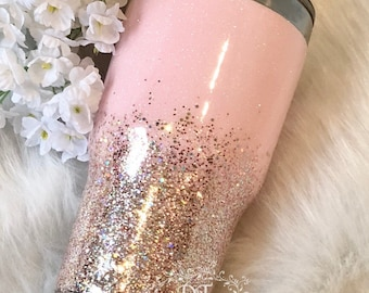 Pink glitter tumbler gold ombre
