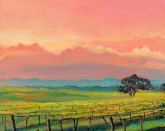 Contemporary landscape art, California vineyard painting, Vineyard Sky art print, wine country, cloud painting, square wall art, Paula Prass