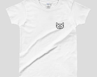 Women's White Geometric Meow Kitty Cat T-Shirt